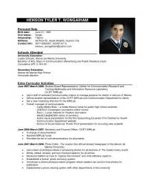 Format For A Resume Exle by Formal Resume Sle