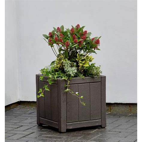 buy strata cm square wood effect planter garden pots
