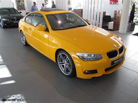 yellow paint sles bmw individual colors on 3 series enzian blue graphite