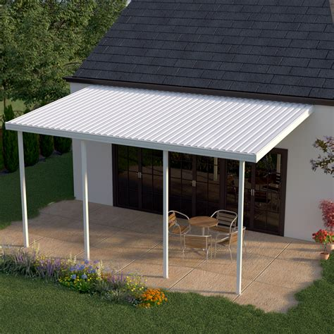 Heritage Patios 14 ft. x 8 ft. White Aluminum Attached