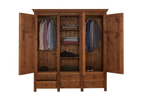 3 door wardrobe with 6 drawers in solid wood
