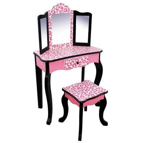 teamson vanity table and stool set in black and pink