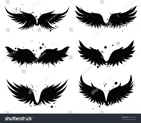 grunge design elements vector vector wings design elements grunge ink stock vector