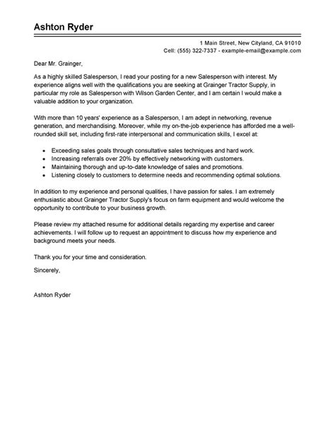 cover letter for sales person salesperson cover letter exles