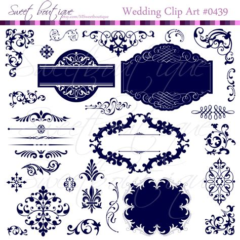 Navy Wedding Clipart by Navy Blue Wedding Digital Frames Clip Clipart With Digital