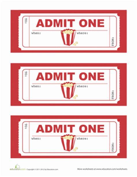 printable movie tickets movie party invitations worksheet education com