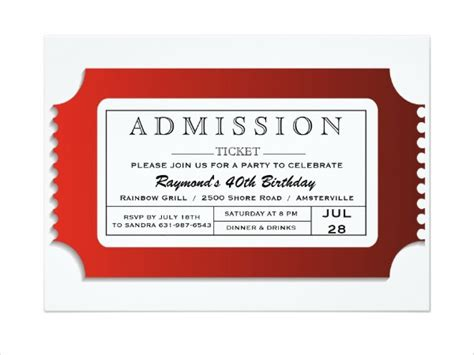 Admission Ticket Invitation Template 8 admission ticket templates free psd ai vector eps