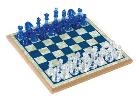 chess set blue clear acrylictransparent chess set