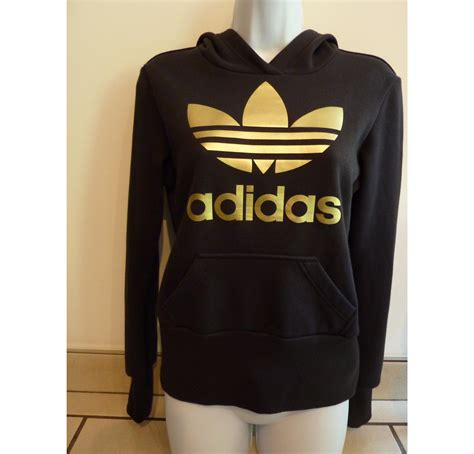 Zipper Hoodie Adidas Original Gold Logo Anime adidas originals hoodie black and gold gray cardigan sweater
