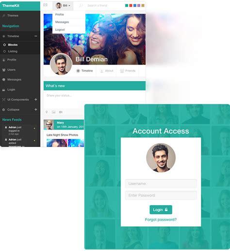 Themekit Bootstrap Admin Theme Kit By Frontendmatter Themeforest Chatting Website Template Free
