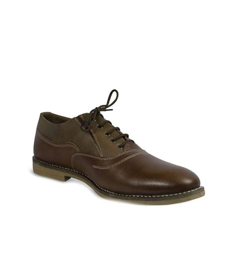 stylox brown synthetic leather formal shoes for price