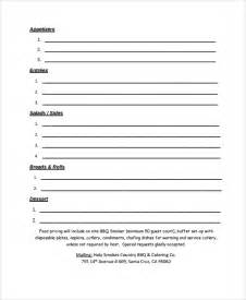 catering order form template word sle catering quote 6 documents in pdf word