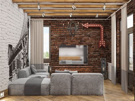 exposed brick wall lighting rich industrial style unites jewel colours with exposed