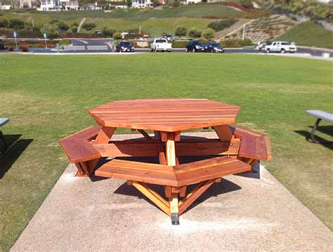 octagon wood picnic table octagon picnic table wood picnic table with attached bench