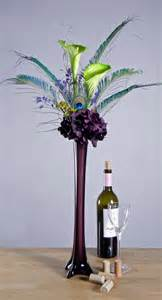 Peacock Feather Vase Peacock Feathers Green Calla Lilies And Purple By Rachelsheart