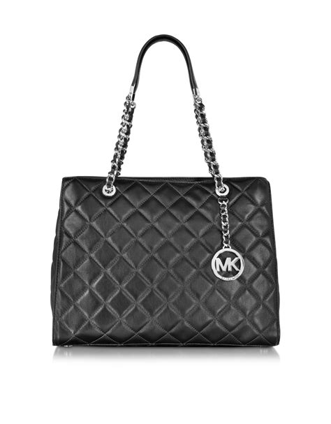 Michael Kors Quilted Handbags by Michael Kors Susannah Large Black Quilted Leather Tote Bag