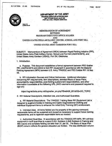 memorandum of agreement template army 13 best images of army memo of understanding template