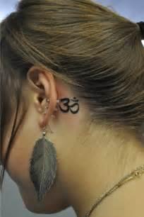 Om ear tattoo girl beautiful behind the ear tattoos