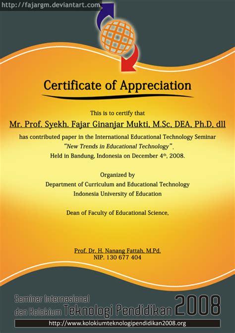 Plakat Seminar Nasional by Sertifikat Pemateri Siktp 2008 By Fajargm On Deviantart