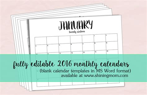 printable editable calendar free just in fully editable 2016 calendar templates in ms word