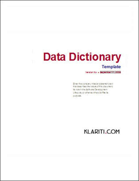 business data dictionary template use template ms word visio templates