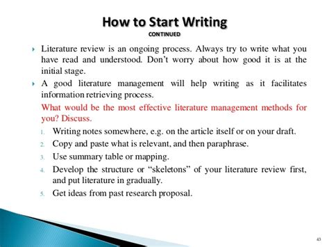 Literature Review How To Start by Workshop Slides On Research And Procedure 190415