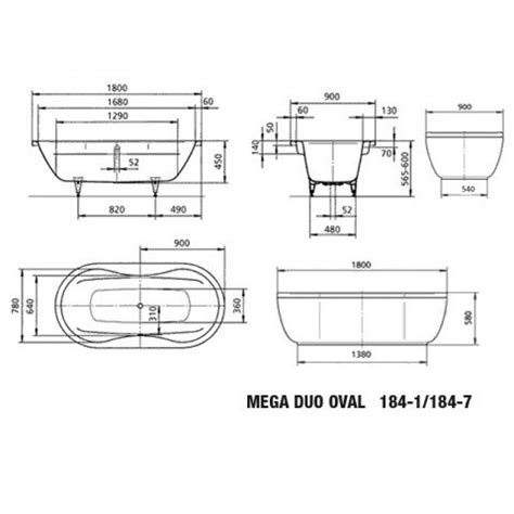 Kaldewei Duo Oval by Kaldewei Badewanne Mega Duo Oval 184 7 180 X 90 X 45 Cm