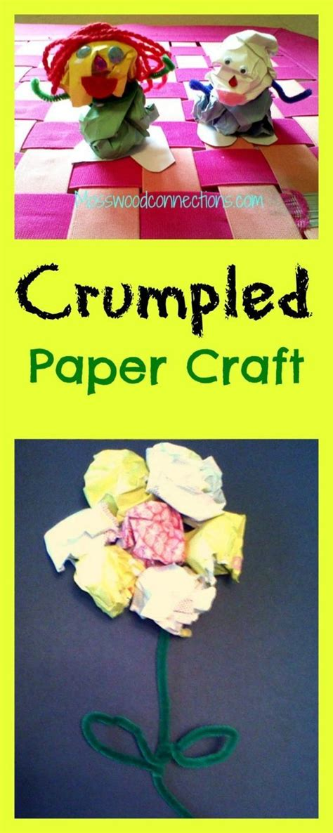 Paper Crumpling Craft - crumpled creations open ended upcycled craft for