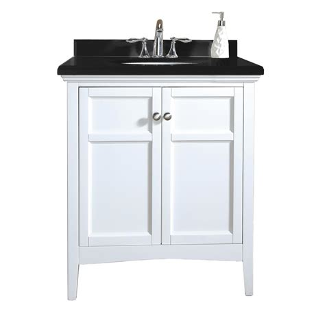 Black Bathroom Vanity With White Marble Top Ove Decors Co 30 In Vanity In White Lacquer With Granite Vanity Top In Black Co 30 The