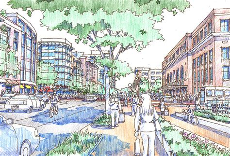 Sketches Community by Hill To Downtown Transit Oriented Development Community Plan