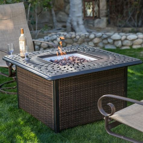 wicker pit table ember florentine 42 in square propane pit table