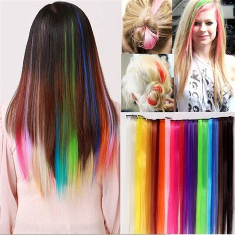 colored hair extensions clip in colored hair extensions clip rainbow human hair