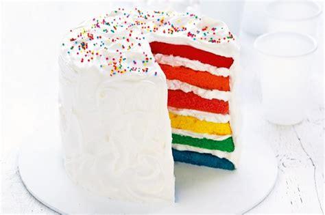 layered rainbow layered rainbow cake recipe taste com au