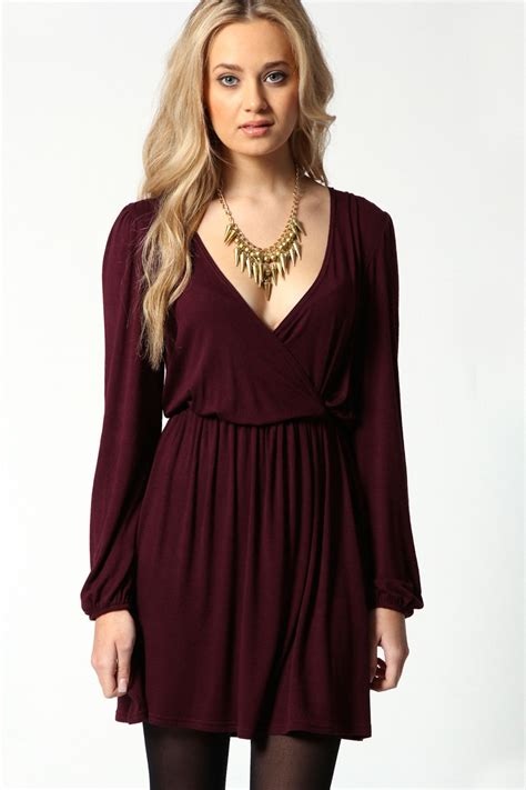 Wrap Dress - boohoo jersey sleeve wrap dress ebay