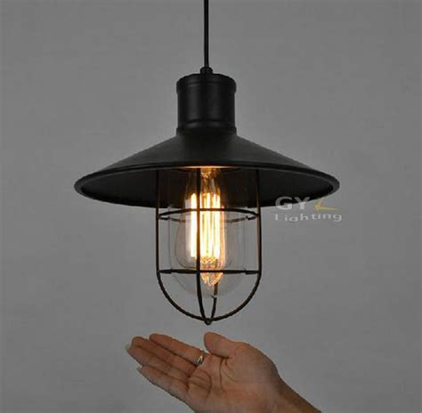 Industrial Metal Pendant Lights Ac100 240v D27 H28cm Clear Glass Lshade Deco