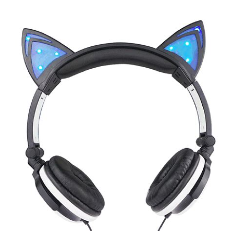 Headphone For Pc black foldable glowing cat ear headphones gaming