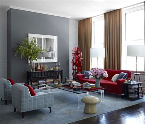 curtain colors for grey walls elegant red sofa combined with brown curtain and gray wall