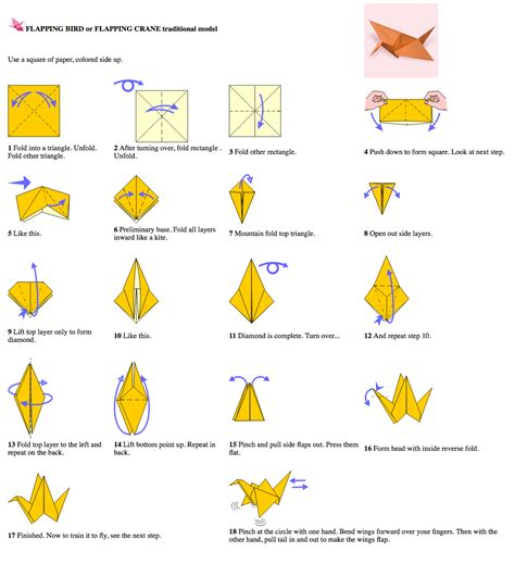 Origami Means - how to make an origami flapping bird image collections
