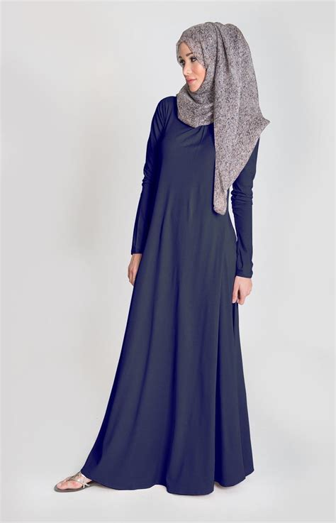Omera Plain Flare Muslim Dress navy blue styling abayas shops and blue