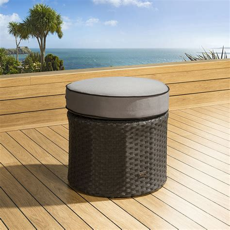 round outdoor ottoman outdoor garden round rattan black grey foot stool ottoman