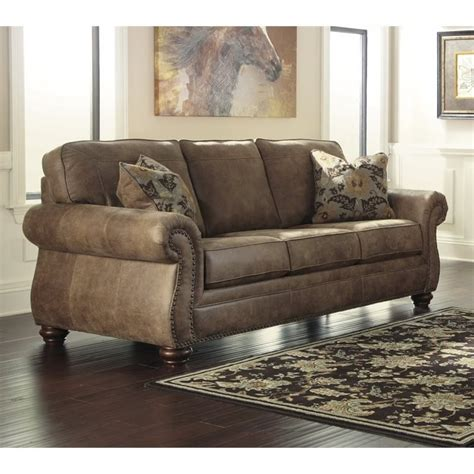 ashley leather sofas ashley larkinhurst faux leather sofa in earth 3190138