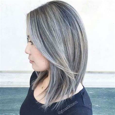 gray hair streaked bith black 30 shades of grey silver and white highlights for eternal
