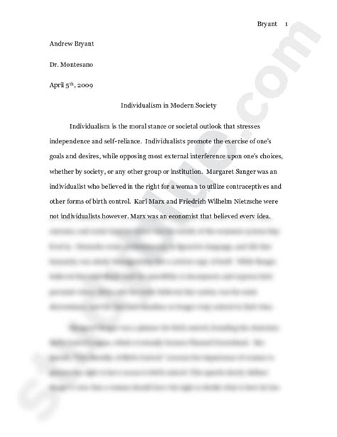Civilized Society Essay by Essay On Individualism In Modern Society Humanities Western Civilization 272 With Montesano