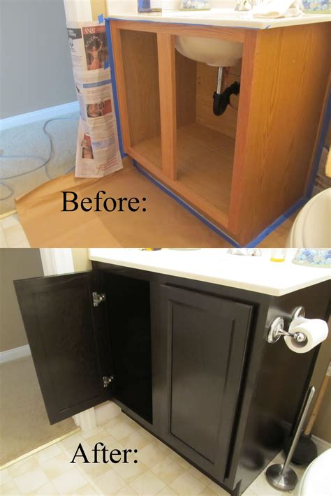 Diy Gel Stain Kitchen Cabinets by Staining Black Color Oak Bathroom Cabinets Darker Before