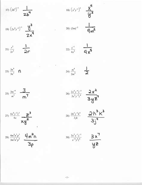 Negative Exponents Worksheet With Answers by 12 Best Images Of Rational Exponents Worksheets With