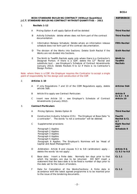 jct design and build contract amendment 1 bcd4 standard building contract without quantities and