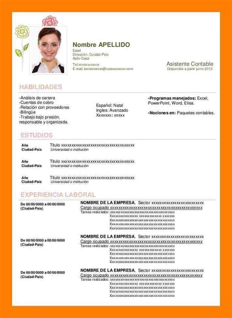 Modelo Curriculum Español Word Modelo De Curriculum Vitae Word Commonpence Co