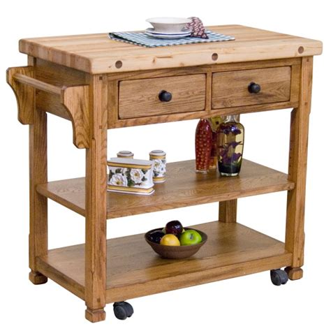Rustic Oak Butcher Block Kitchen Island Cart Oak Kitchen