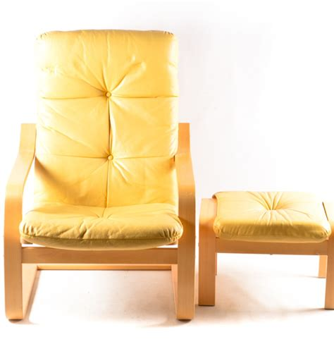 poang leather chair and footstool ikea poang yellow leather chair and ottoman ii ebth