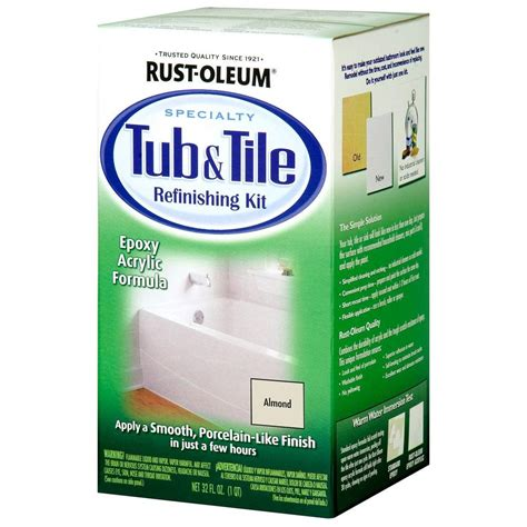 refinish bathtub kit rust oleum specialty 1 qt almond tub and tile refinishing